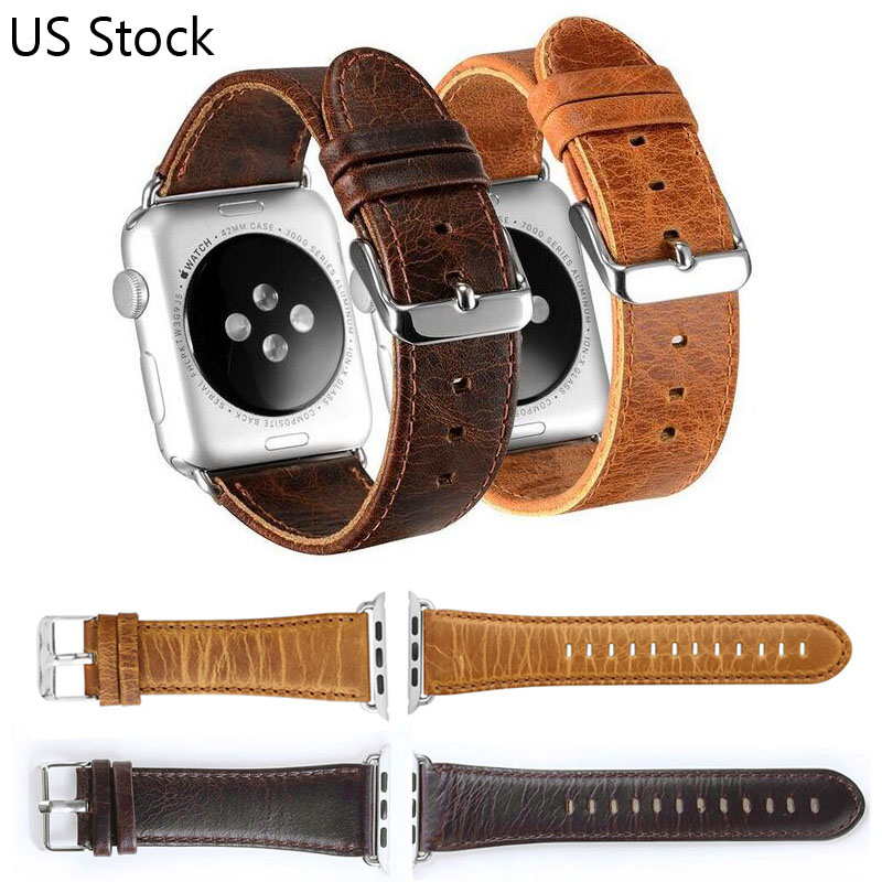 DAHASE Brown Coffee Retro Genuine Leather Watch Strap for Apple Watch Band Metal Buckle Bracelet for iWatch Wristband 42mm 38mm genuine leather watchband for longines men leather watch strap for women metal buckle watch band belt retro watch clock band