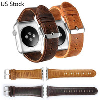 DAHASE Brown Coffee Retro Genuine Leather Watch Strap For Apple Watch Band Metal Buckle Bracelet For