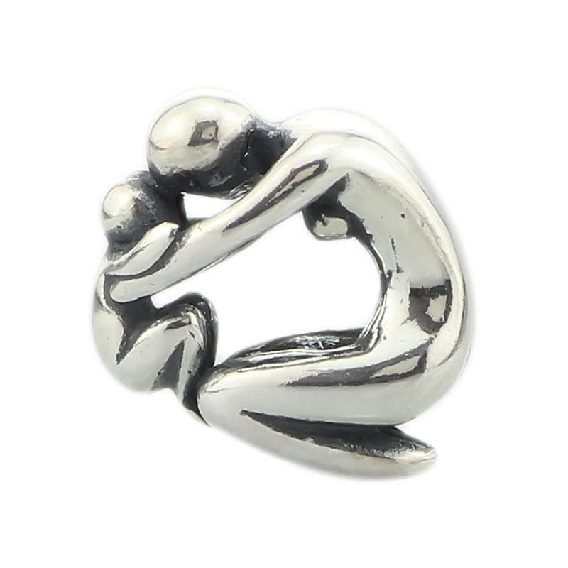925 Sterling Silver Maternity Mother and Baby Charm Beads Fit European 3.0mm Bracelet Jewelry(China)