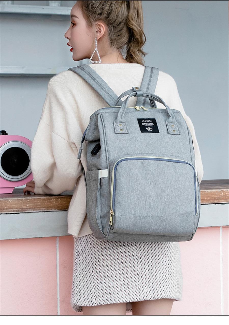 HTB1li.fa5 1gK0jSZFqq6ApaXXau LEQUEEN USB Diaper Bag Baby Care Backpack for Mom Mummy Maternity Wet Bag Waterproof Baby Pregnant Bag