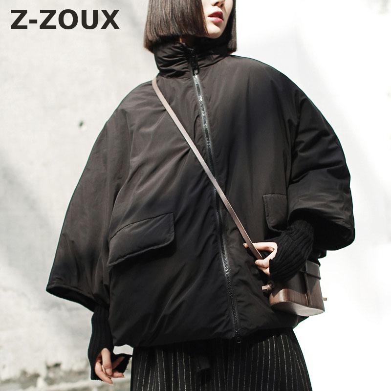 Z-ZOUX Womens   Down   Jackets Thickening Bat Sleeves Duck   Down   Jacket Women Loose   Down     Coats   Women Parkas Black Winter   Coat   2018