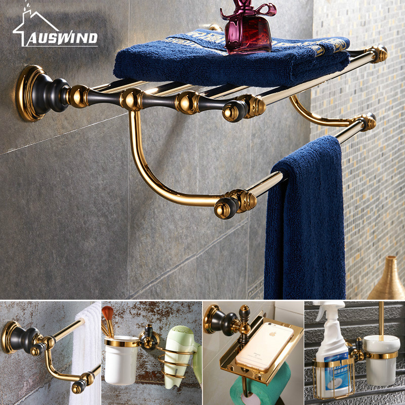 European Gold Polish&Black Bathroom Accessories Sets Paint Bathroom Hardware Set Modern Brass Bathroom Suit Unique european gold polish