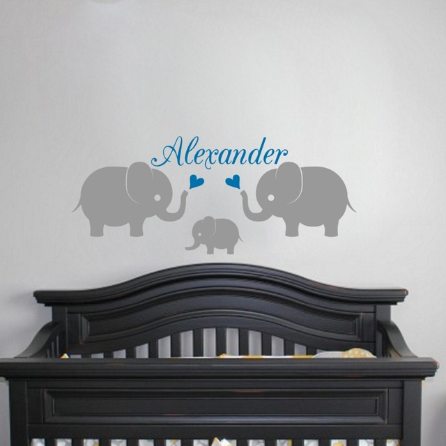 Personalised Name 3 Elephants Wall Decal Nursery Baby Stickers Family Vinyl