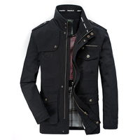2018 Autumn Jacket Men Cotton Stand Collar Multi pockets Medium long Cargo Safari Military Men AFS JEEP Jacket Big Size 7XL 8XL