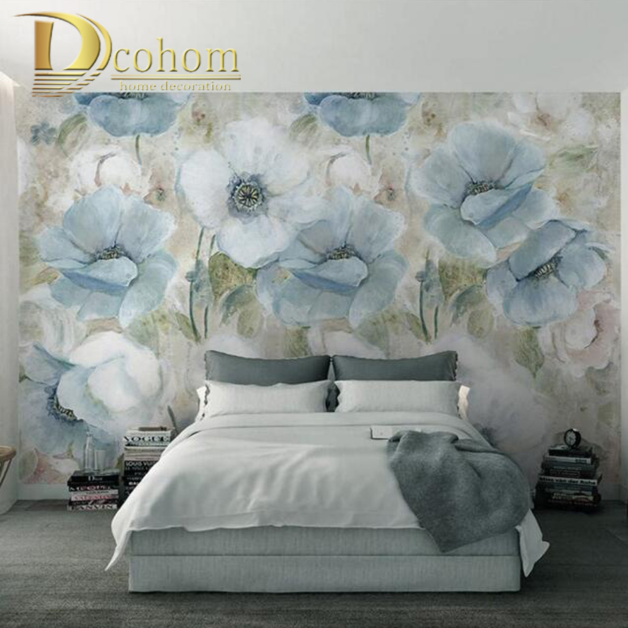 Customize Size 3D European Art Floral Bedroom TV Background Wall Paper Home Decor Living Room Non-woven Mural Wallpaper