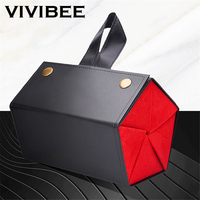 VIVIBEE Women High Quality 5 Storage Space Sunglasses Tray Black Red Fashion PU Leather Roll Eyeglasses Case Display Box
