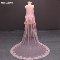 2019 New Real Photos Two Layers Lace Edge Cover Face Pink Tulle Wedding Veil with Blusher 2 T Bridal Veil Wedding Accessories