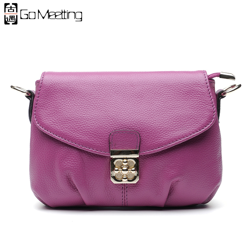 Go Meetting Brand Genuine Leather Women Shoulder Bag High Quality Cowhide Ladies Crossbody Bags Lock Small Messenger Bag WD21 new arrival genuine leather women bags small wrist clutch lady bag high quality cowhide shoulder messenger bag crossbody bag