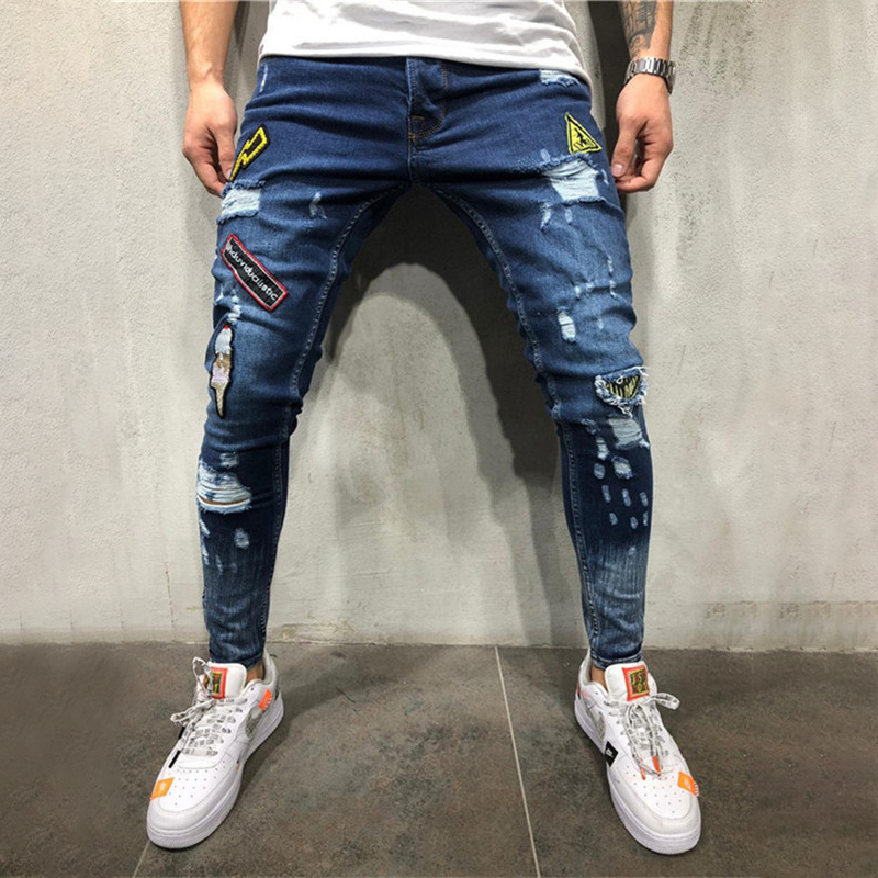 summer Holes have badges embroidered labeling youth fashion trend   jeans   2019 new fashion hip hop   jeans