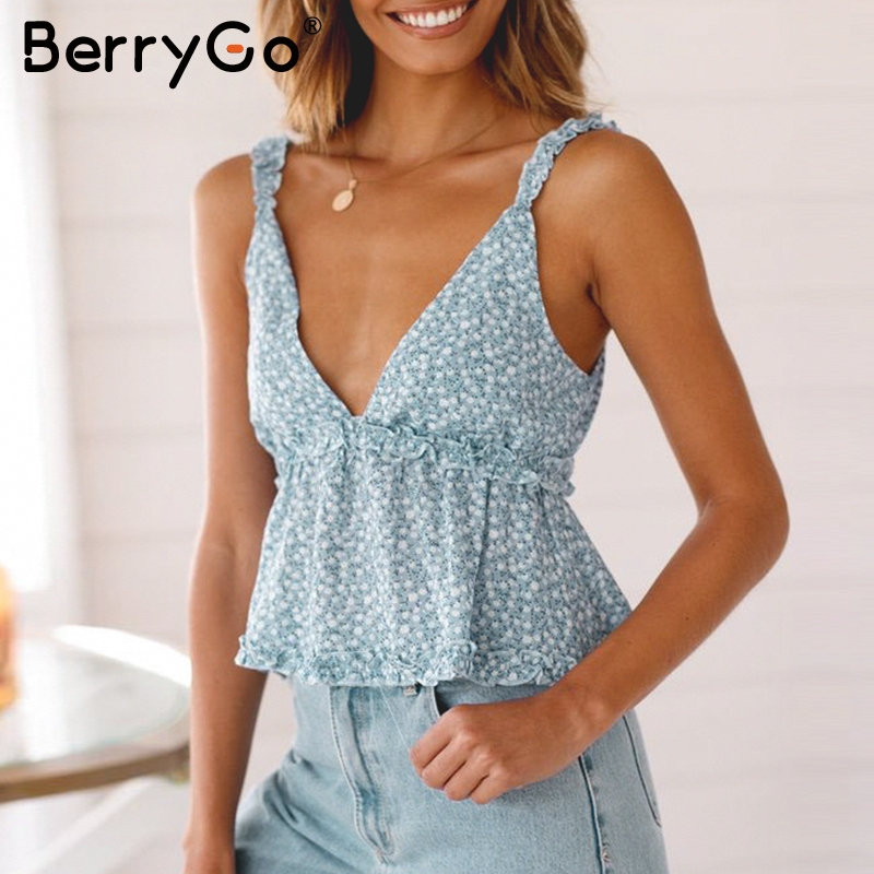 BerryGo V neck cotton camisole women Vintage floral print ruffled female crop   tops   Sleeveless holiday beach ladies   tank     tops
