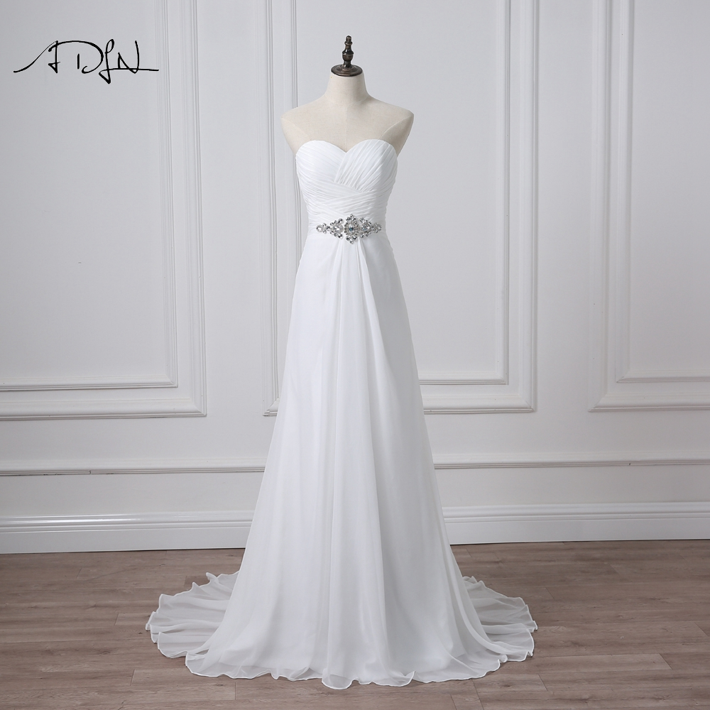 ADLN Stock Chiffon Beach Wedding Dresses Under 50 Sweetheart Lace up Back Plus Size Bridal Gown