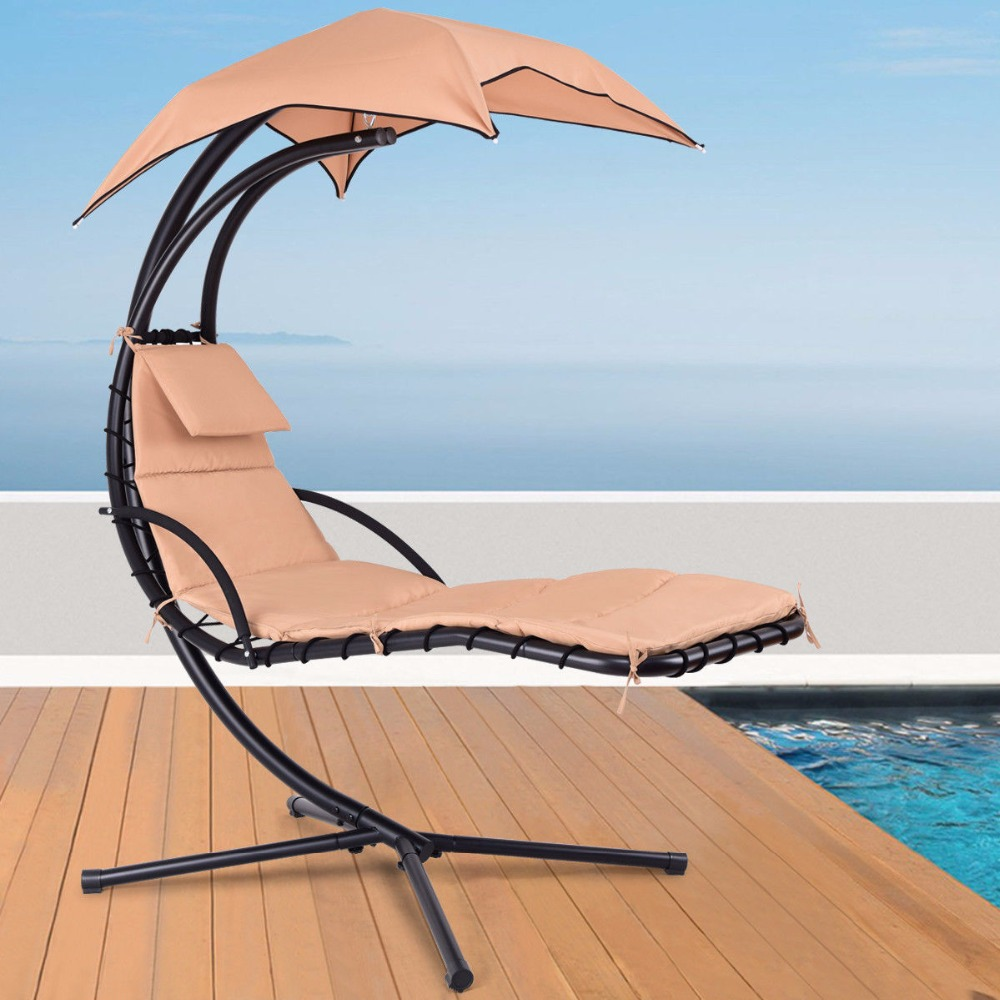 Giantex Appeso Chaise Lounger Chair Arco Del Basamento Portico Altalena Amaca Sedia W/Baldacchino Khaki Outdoor Mobili OP3460CF