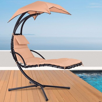 Hanging Chaise Lounger Chair Arc Stand Porch Swing Hammock Chair W/ Canopy – Khaki