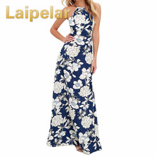 купить Laipelar Vintage Floral Print Summer Long Maxi Dress Off Shoulder Sexy Women Causal Dress Plus Size Beach Party Dresses Vestidos дешево