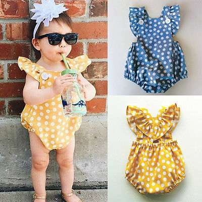 Newborn Infant Kids Baby Girl Romper Jumpsuit Dot Outfit Sunsuit Clothes 2 Colors newborn infant baby girl clothes strap lace floral romper jumpsuit outfit summer cotton backless one pieces outfit baby onesie