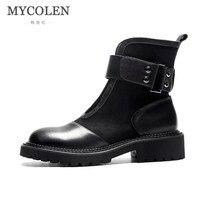 MYCOLEN Элитный бренд обувь на плоской подошве женские ботильоны черный Женские туфли для повседневной носки из натуральной кожи новые зимние