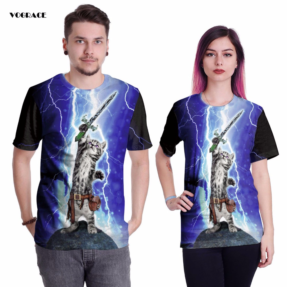 US $14 65 |VOGRACE 3d Print Christmas T Shirts Vest Cat Sword Lightning  Rock Band Tanks Tee Cool T Shirt Personality T Shirt For Brand Tops-in