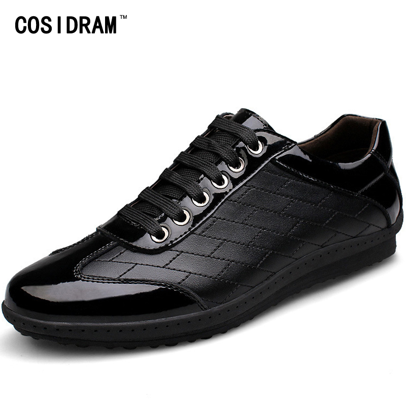COSIDRAM Autumn Genuine Leather AAA Men Shoes Fashion Patchwork Men Casual Shoes Soft Male Footwear For Men 2017 RMC-103 spring autumn men loafers genuine leather casual men shoes fashion driving shoes moccasins flats gommino male footwear rmc 320