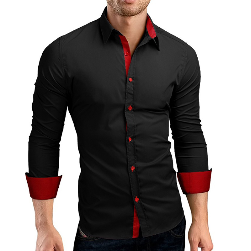 UNPADUPE 2019 Men Shirts Europe Size New Arrivals Slim Fit Male Shirt Solid Splice Long Sleeve British Style Cotton Men's Shirt
