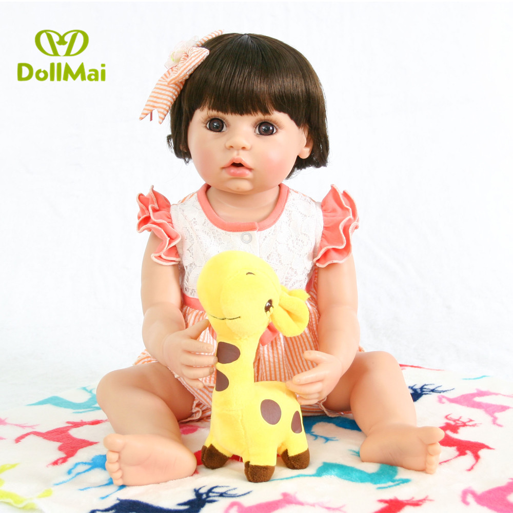DollMai 22 /56cm Full silicone vinyl Toddler Baby Doll Toys beautiful dress Princess Toddler Girls  Toy Lovely Child play houseDollMai 22 /56cm Full silicone vinyl Toddler Baby Doll Toys beautiful dress Princess Toddler Girls  Toy Lovely Child play house