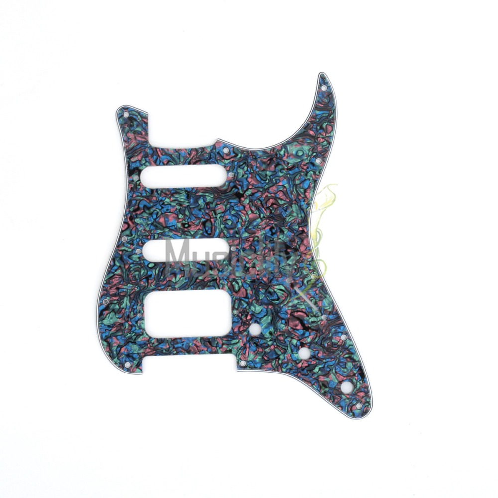 Musiclily Pro Multiple Color 4ply 11 Hole Strat HSS Style Guitar Pickguard Scratch Plate Pick Guard for ST Stratocaster new silver mirror hss st strat style guitar pickguard scratch set mirror pickguard mirror back plate chrome pickguard screws