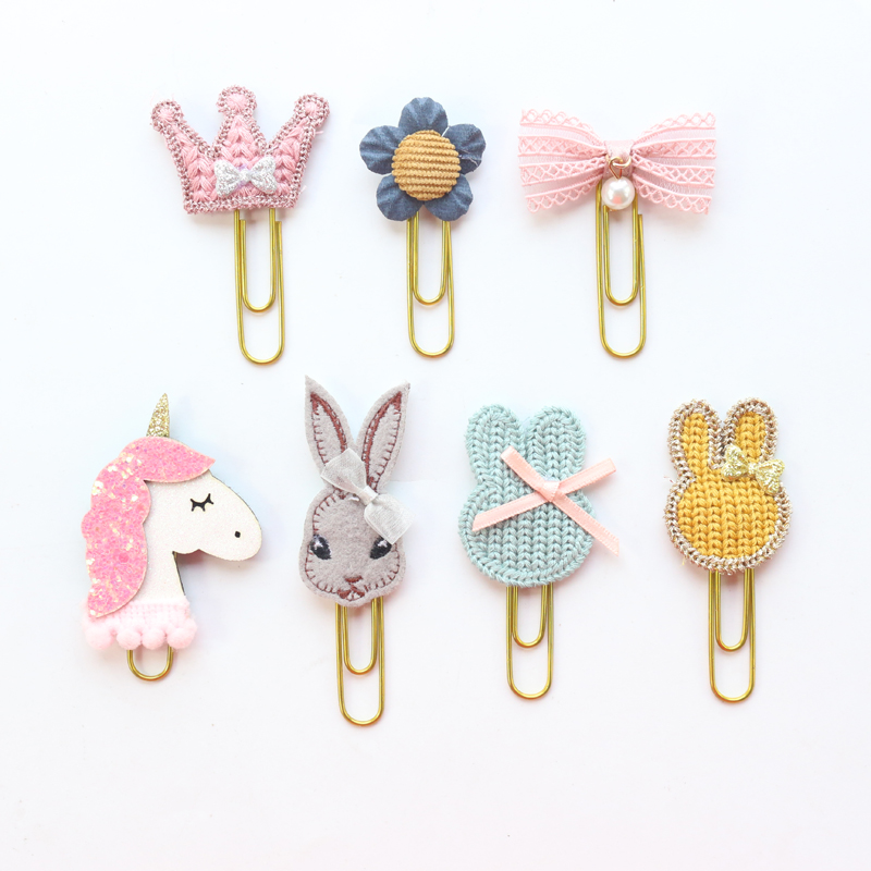 Domikee Cute Kawaii Handmade Metal Office School Index Paper Clips Bookmark Student Memo Clips Stationery