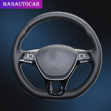 Car Braid On The Steering Wheel Cover for Volkswagen VW Golf 7 Mk7 New Polo 2014 2015 2016 2017 with Original Leather Auto