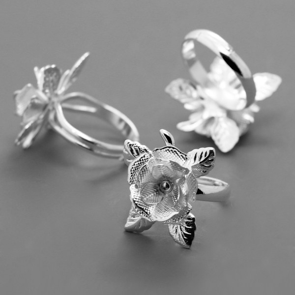 10pcs/lot 2019 New Trend Silver Plated Ring DIY Flower Ring  Ladies Jewelry Making