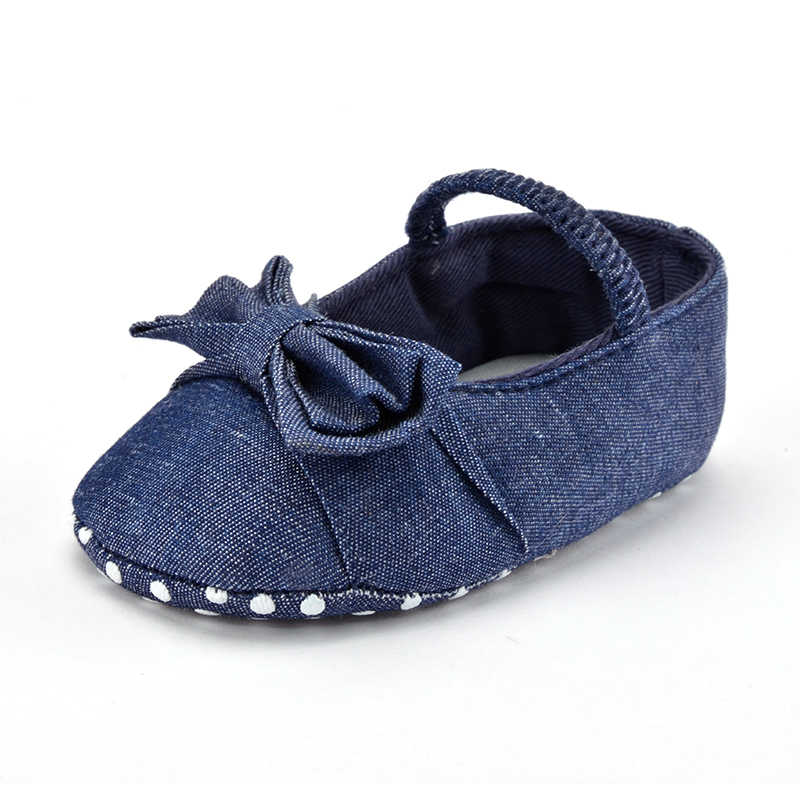 Baby Girls Princess Shoes Infant Toddler Crib Bebe Kids First Walkers Dark Blue Big Bow Soft Soled Anti-Slip Dress 0-18 Months