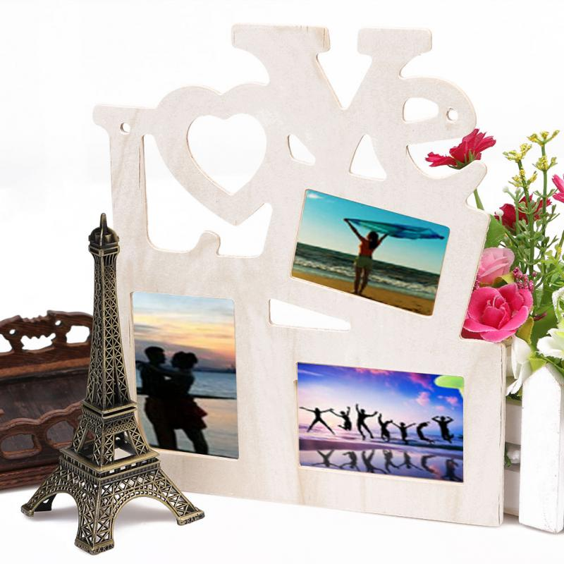 Hollow love wooden family photo picture frame rahmen base for Home decor 2 love