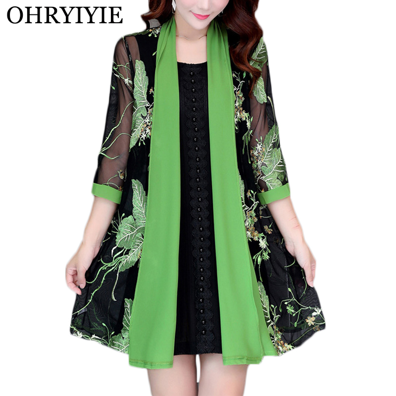 OHRYIYIE Plus Size 5XL Loose Cardigan Sweater Women Poncho 2020 Summer Long Vintage Embroidery Knit Sweater Female Outwear Coats