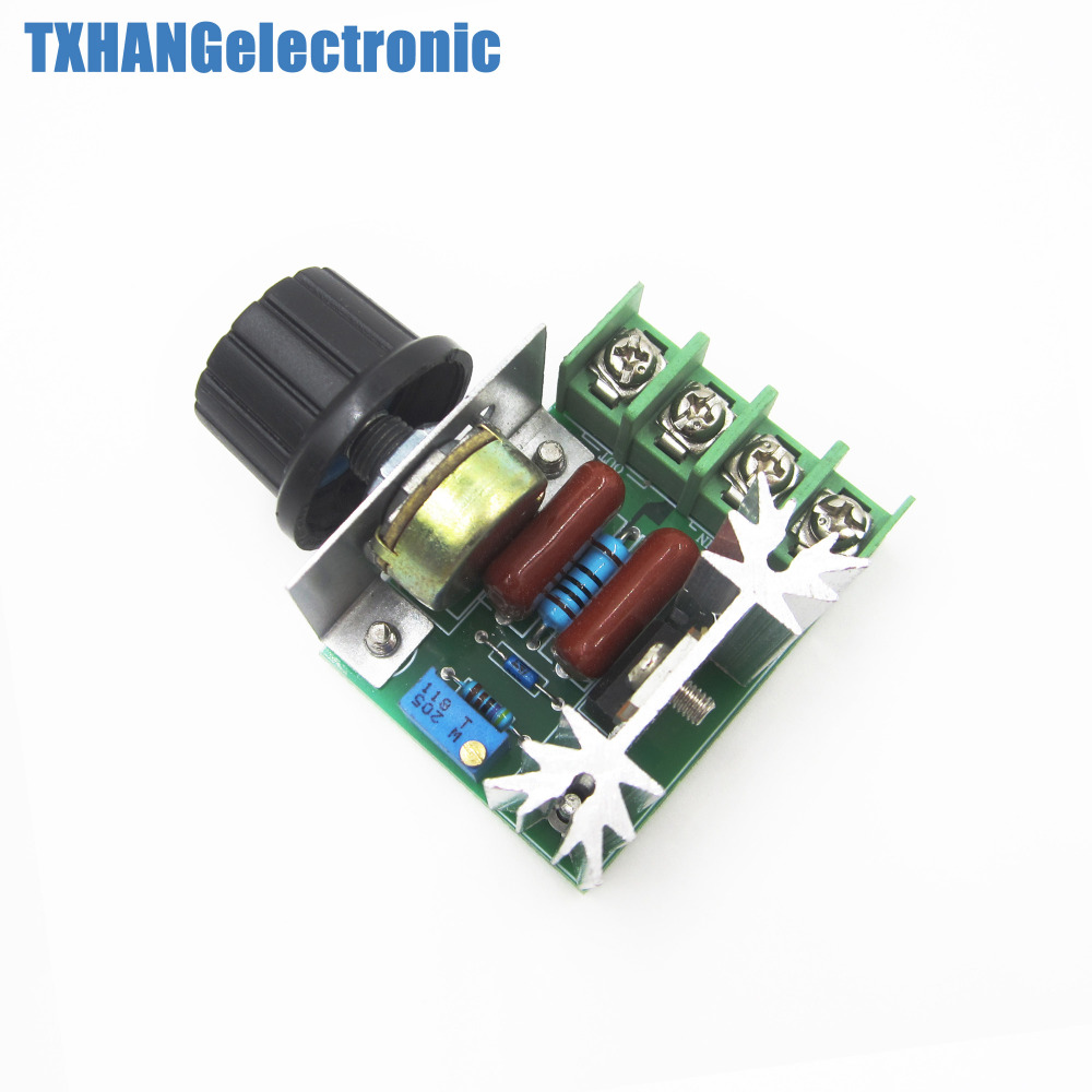 1pcs 220v 2000w Speed Controller Scr Voltage Regulator Dimming Circuit Triac Controlled Automatic Stabilizer Electronic Dimmers Thermostat