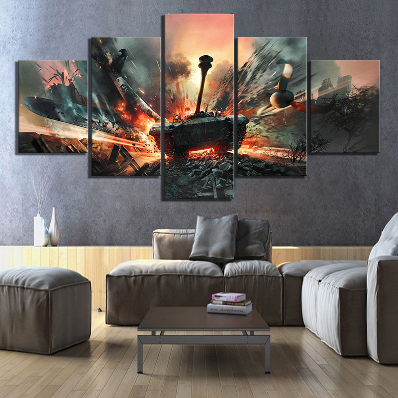 5 Piece HD M18Hellcat Tank Destroyer Military Picture World of Tanks Game Poster Fantasy Wall Art Canvas Painting for Home Decor image