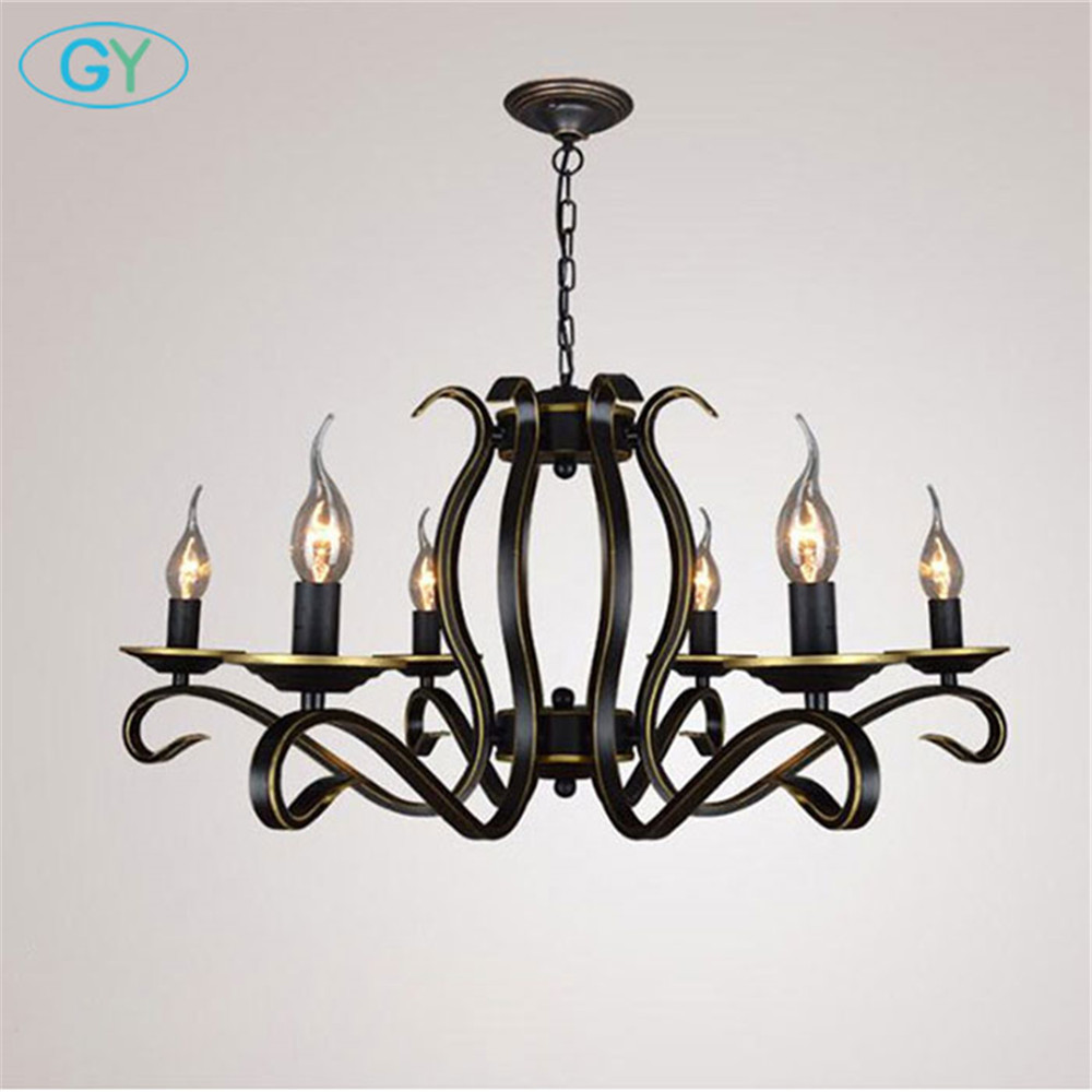 AC110-220V European Candle chandelier Lustre American country home living room chandeliers light wrought iron Metal hanging lamp цена