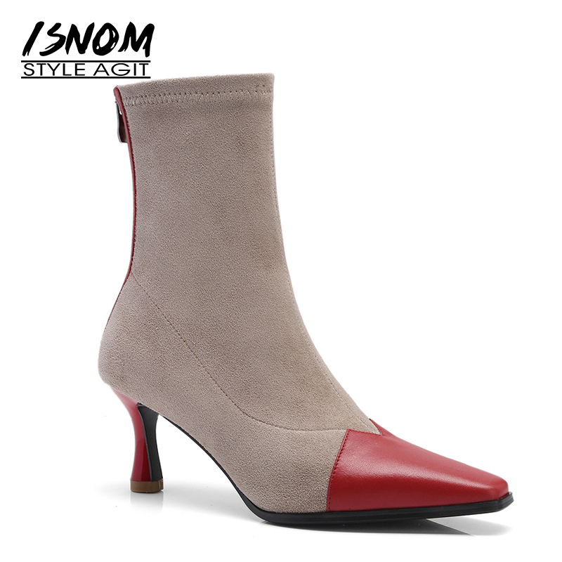 ISNOM Winter High Heels Ankle Boots Women Square Toe Leather Stretch Bootie Suede Boot Fashion occident