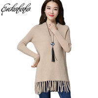Women Sweaters Pullover 2017 Winter Knitted Tops Blusas O Neck Long Sleeve Tassel Casual Loose Solid