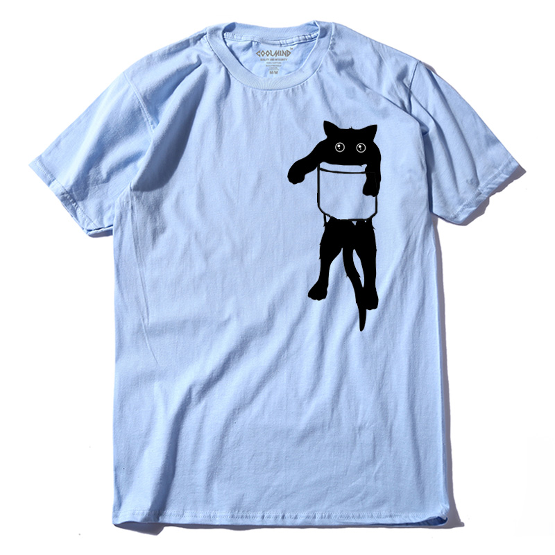 COOLMIND QI0232A casual short sleeve o-neck funny mens tshirt tops tees 100% cotton loose style cat printed men   t     shirt   tees