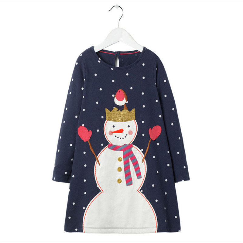 Long Sleeve Children Girls Dresses Applique Snowman Polka dot Princess Christmas Dresses New Year Gift For Baby Autumn Dress