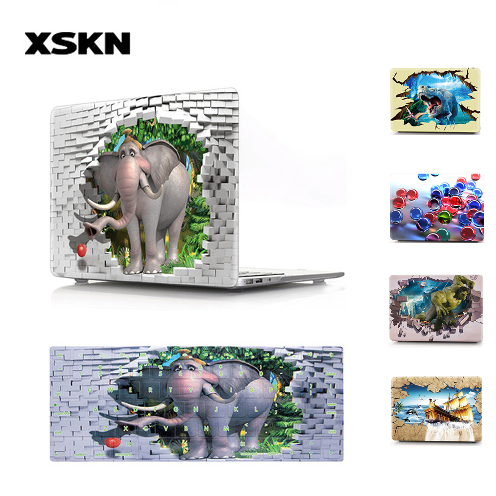 XSKN 3D Print Pattern Laptop Case with Keyboard Cover for Macbook Air Pro Retina 12 13 15 with/without Touch Bar