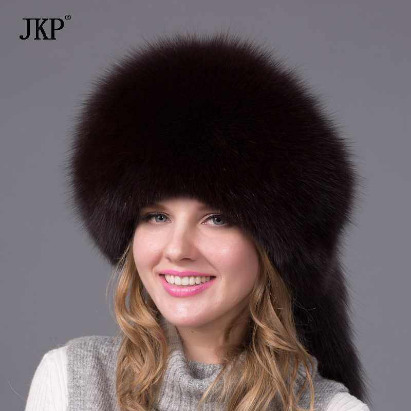 b0363f015 Winter Real Fox Fur Hat Nature Fox Fur Cap High Quality Princess Style  Women New Fashion Warm Fur Headgear