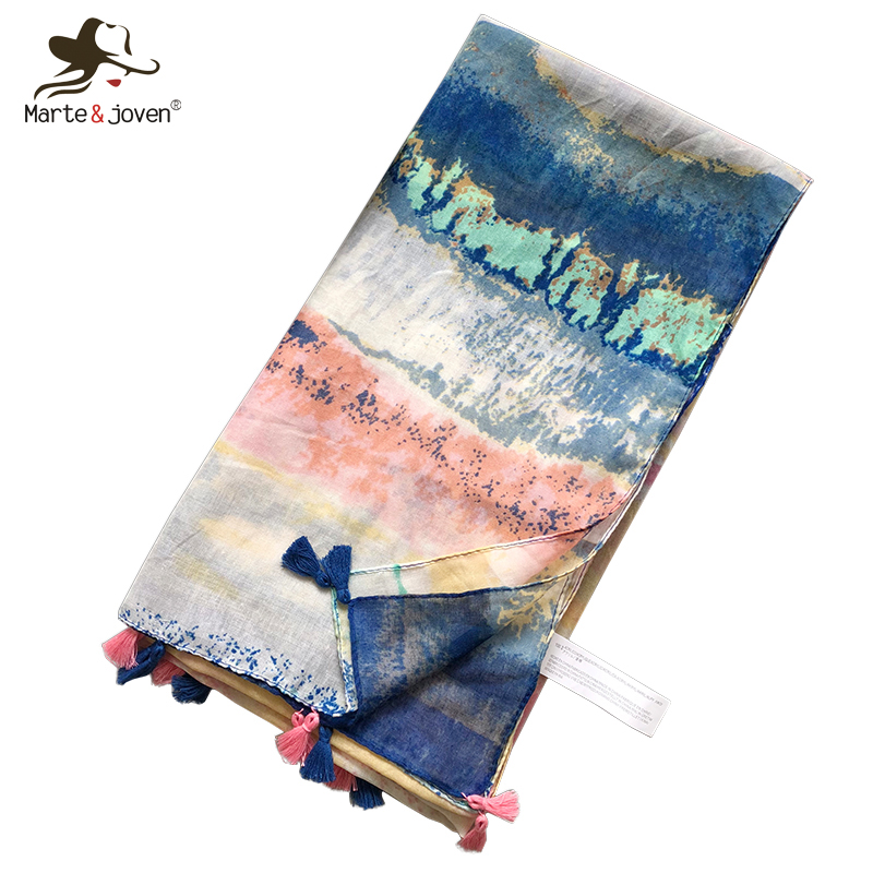 Marte&Joven Spring Autumn Tie Dye Scarf For Women Colorful Patchwork Large Size Warm Shawls Pashmina Ladies Long Wraps Hijab