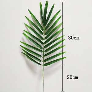 Image 4 - 20pcs Plastic Artificial Palm Tree Leaves Branch Green Plants Fake Tropical Leaf Home Wedding Decoration Flower Arrangement