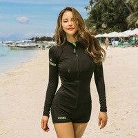 Surf Suit Woman Korea Swimsuit Long Rash Guards Women Guard Windsurfing Diving Korean Female Suits Garment Sleeve Solid Spandex