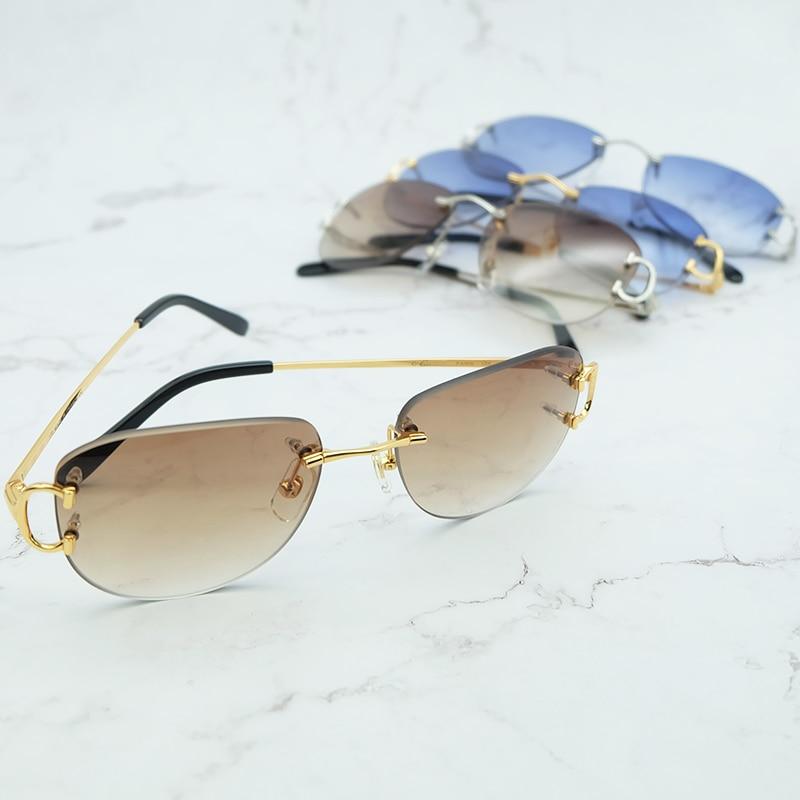 Vintage Occhiali Da Sole del Mens Del Progettista di Marca Della Decorazione di Festival alla moda carter occhiali senza montatura in metallo ovale sun shades per le donne