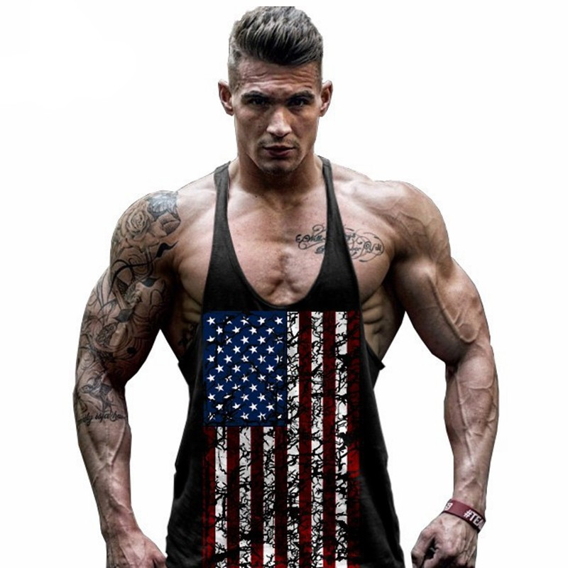 Summer men USA Flag men   tank     tops   vest Raglan   tank     top   Workout men Muscle Bodybuilding   tank     top