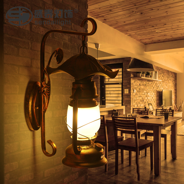 American Country Living Room Bamboo Wall Lights Antique Vintage Kerosene  Lantern Wall Lamps Personality Bedroom Bedside