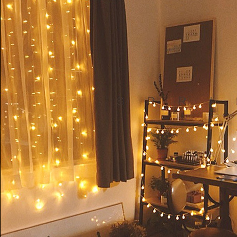 lights led background ball string decoration flashing frosted holiday lamp lighting