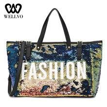 Glitter Sequins Women Travel Bag Female Luxury Handbag Letter Duffle Bag Leather Big Shoulder Bags Lady Hand Luggage Sac XA739WB