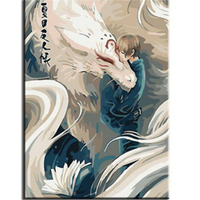 Living Room Picture Cartoon Character And Animal Like Dragon Kimono Quadratic Element Painted By Numbers Oil