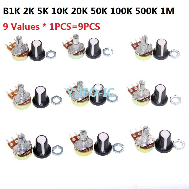 9 Values * 1PCS=9PCS WTH148 potentiometer kit(with cap) Assorted pack set B1K 2K 5K 10K 20K 50K 100K 500K 1M 15mm 3pin9 Values * 1PCS=9PCS WTH148 potentiometer kit(with cap) Assorted pack set B1K 2K 5K 10K 20K 50K 100K 500K 1M 15mm 3pin